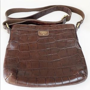 Fossil brown leather crossbody bag gold hardware
